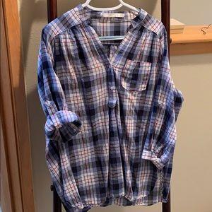 Pullover style lightweight plaid shirt ModCloth